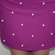 Rochie cu maneca scurta, nuanta de mov, margele aplicate