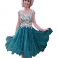 Rochie de gala din tul verde si dantela aurie cu perle aplicate