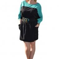 Rochie de lungime mini, de culoare negru-verde