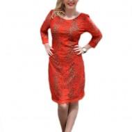 Rochie de ocazie, de culoare rosii, din dantela florala