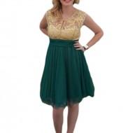 Rochie de ocazie verde din tul si dantela deosebita cu fir auriu