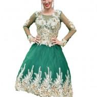 Rochie de seara cu design rafinat, greenery-auriu, cu cerc
