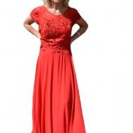 Rochie de seara lunga de culoare rosie, cu broderie florala 3D