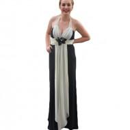Rochie de seara lunga eleganta, combinatie de negru cu alb, din voal