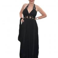 Rochie de seara, lunga, model special, design aparte, pe negru