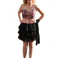 Rochie de seara scurta, animal-print, o parte detasabilla, roz cu negru