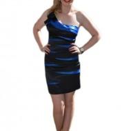 Rochie de seara scurta, neagra cu albastru regal, saten cu decor din cute