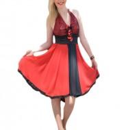 Rochie de seara scurta rosie, cu insertii de paiete si detalii negre