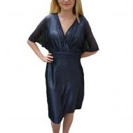 Rochie de seara Ynez cu aplicatii de margele,nuanat de bleumarin