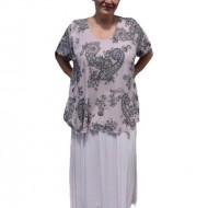 Rochie de vara culoare de pudra cu imprimeu gri