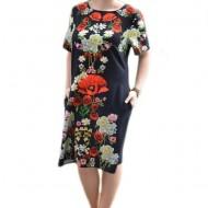 Rochie de vara, in negru cu flori colorate pe mijloc, masura mare