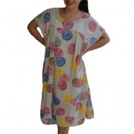 Rochie de vara,vaporoasa Alice model cu buline colorate,nuanta de crem
