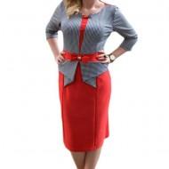 Rochie de zi cu aspect de costum de culoare rosu-bleumarin