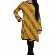 Rochie de zi cu imprimeu in dungi ,nuanta de galben