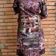 Rochie de zi cu maneca trei-sferturi, de toamna-iarna, nuanta roz