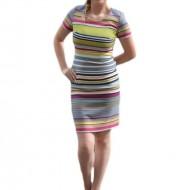 Rochie de zi, multicolora, imprimeu realizat din dungi verticale