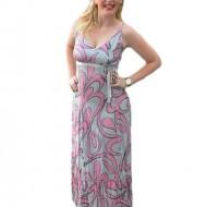 Rochie din bumbac, de culoare gri-roz
