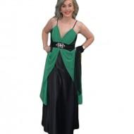 Rochie din saten negru cu detalii din voal verde, model lung