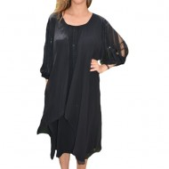 Rochie eleganta Alana din voal,nuanta de negru