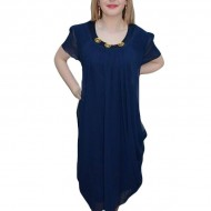Rochie eleganta, de culoare bleumarin, cu voal fin fronsat