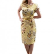 Rochie eleganta de culoare galbena, din material usor elastic