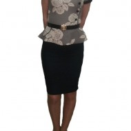 Rochie eleganta, design tip costumas, neagra cu imprimeu crem