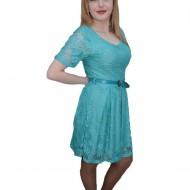 Rochie eleganta din dantela, de nuanta turcoaz, cu croiala lejera