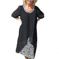Rochie eleganta, neagra, din material elastic combinat cu voal