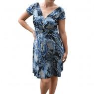 Rochie Eleonor, imprimeu abstract albastru ,nuanta de negru