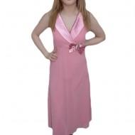 Rochie fashion, nuanta de roz, detaliu argintiu fin in talie