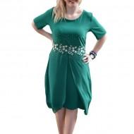 Rochie feminina masura mare, de culoare verde, cu strasuri aurii