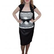 Rochie in nuanta de negru-alb, imprimeu abstract