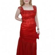 Rochie in nuanta de rosu, inchidere cu fermoar, croi simplu