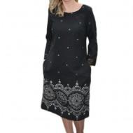 Rochie lejera de culoare gri inchis cu imprimeu rafinat argintiu