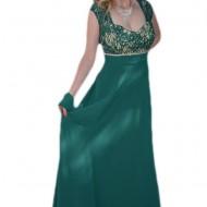 Rochie lunga, de ocazie, din voal verde, cu insertie de dantela