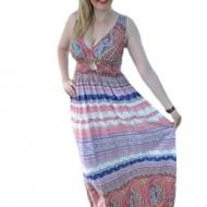 Rochie lunga de vara multicolora cu decolteu in V si fara maneca