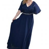 Rochie lunga, model fashion cu dantela si voal nuanta bleumarin