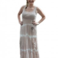 Rochie lunga, roz pudra, in partea de jos cu model de dungi