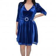 Rochie Mara din catifea cu insertii de dantela,albastru deschis
