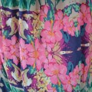 Rochie maxi, fara bretele, imprimeuri florale
