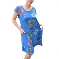 Rochie Merle, din bumbac, imprimeu cu flori,nuanta bleumarin
