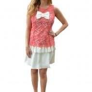 Rochie Michaela din dantela ,nuanta alb-roz