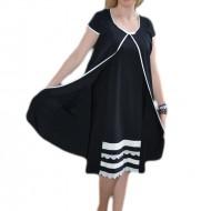 Rochie moderna din material usor elastic, nuanta de negru-alb
