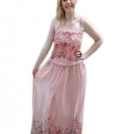 Rochie plamanie de vara, model lung cu elastic si bretele subtiri