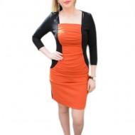 Rochie portocaliu-negru, masura mare, cu maneca trei-sferturi