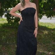Rochie rafinata, de culoare neagra din tafta creponata