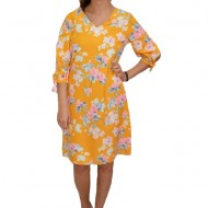 Rochie rafinata, in nuanta de galben, cu design floral, decolteu in V