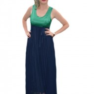 Rochie rafinata, lunga, de culoare bleumarin cu top verde