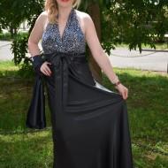 Rochie rafinata lunga , negru cu paiete