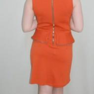 Rochie rafinata , portocalie, cu peplum si detalii aurii